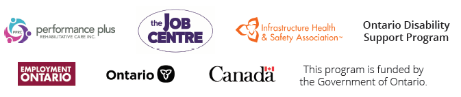 Logos of Conference Partners: Performance Plus Rehabilitative Care Inc., The Job Centre, Infrastructure Health and Safety, Ontario Disability Support Program, Employment Ontario, Government of Ontario, and Government of Canada.