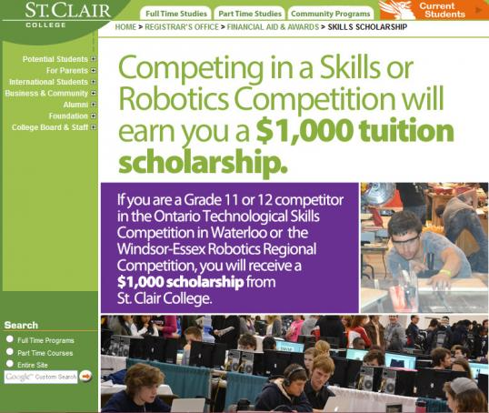 Screenshot of St. Clair College's website